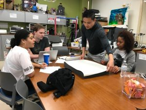 Students at a table developing a plan